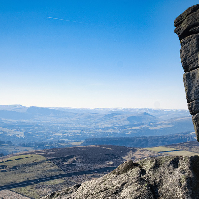 """Climbing at Higger Tor, Derbyshire, Peak District National Park"" stock image"