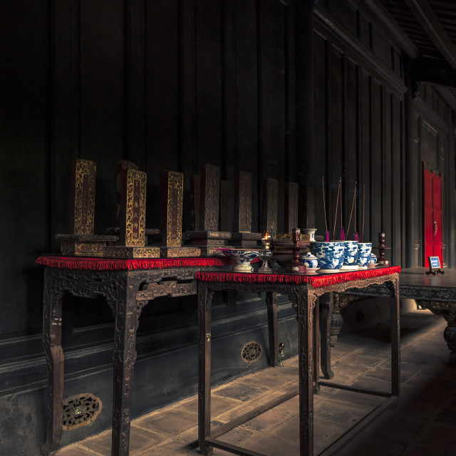 """""""Spirit tablets of the Queens of Minh Mang Emperor are worshipped in Sung An Temple"""" stock image"""