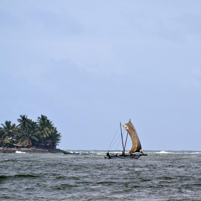 """Fishermen traditional sailing boat"" stock image"