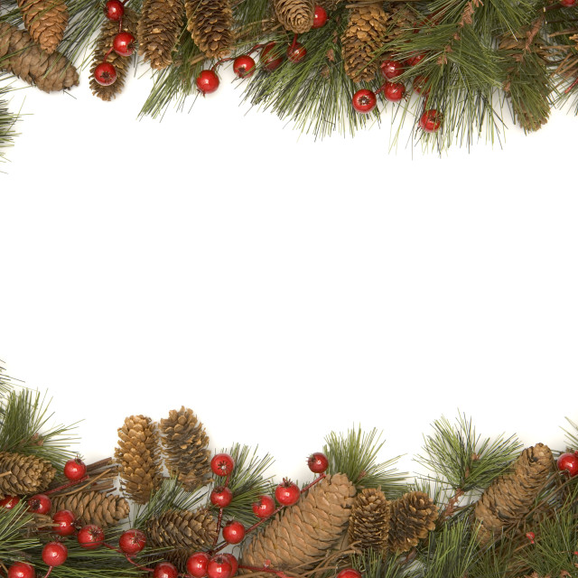 """Christmas border of pine branches"" stock image"