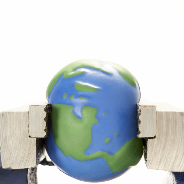"""""""Earth Squeezed In Vice"""" stock image"""