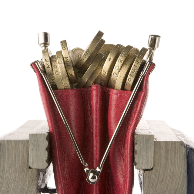 """""""Purse of coins in vice"""" stock image"""