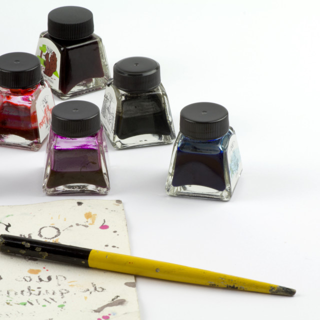 """Ink pots and nib"" stock image"