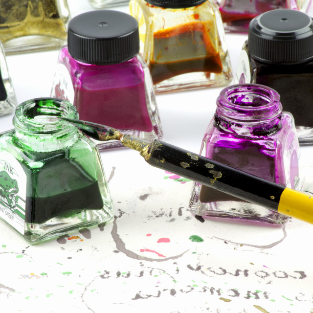 """Colored inks and nib"" stock image"