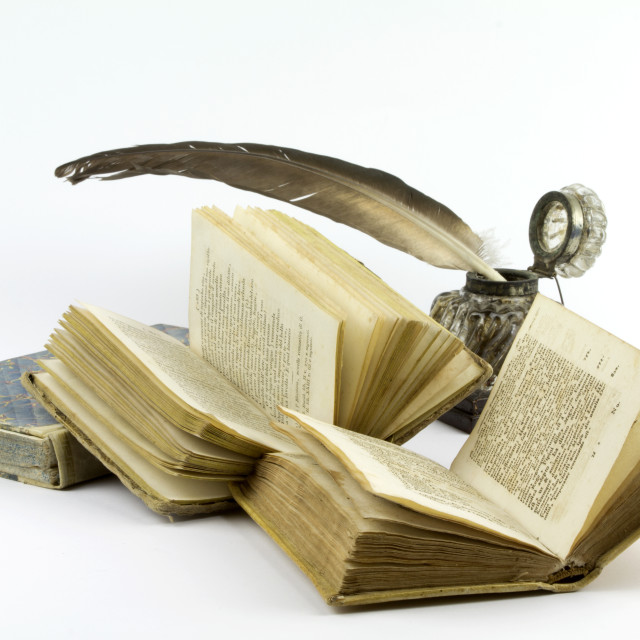 """Old books with ink pot and quill"" stock image"