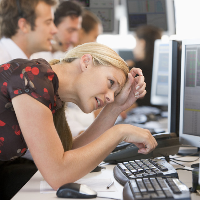 """""""Woman Looking At Monitor Frustrated"""" stock image"""