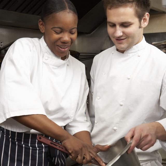 """Chef Instructing Trainee In Restaurant Kitchen"" stock image"
