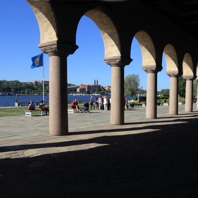 """""""The colonnade of the Stockholm City Hall"""" stock image"""