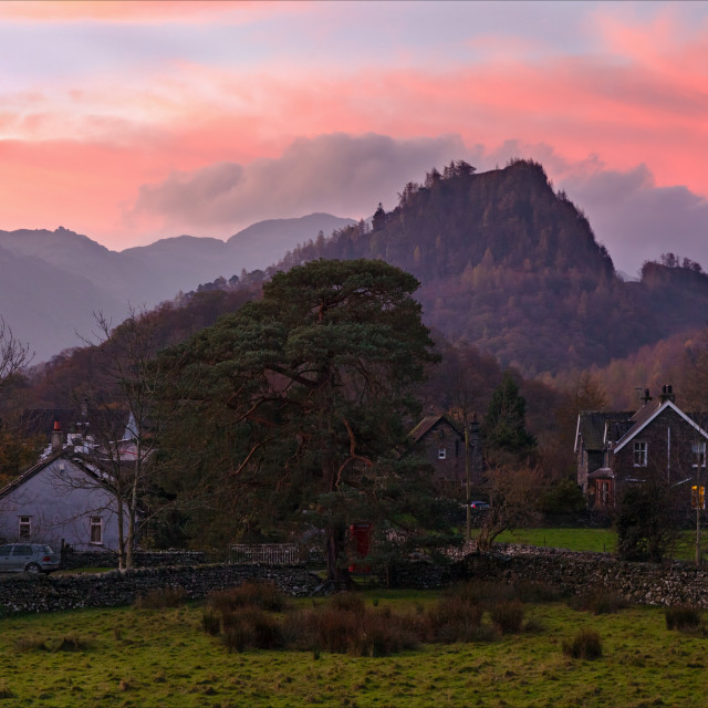 """Sunrise at Castle Crag"" stock image"
