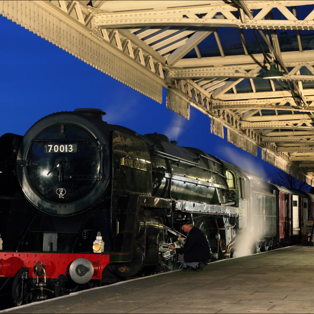 """Oliver Cromwell at night"" stock image"