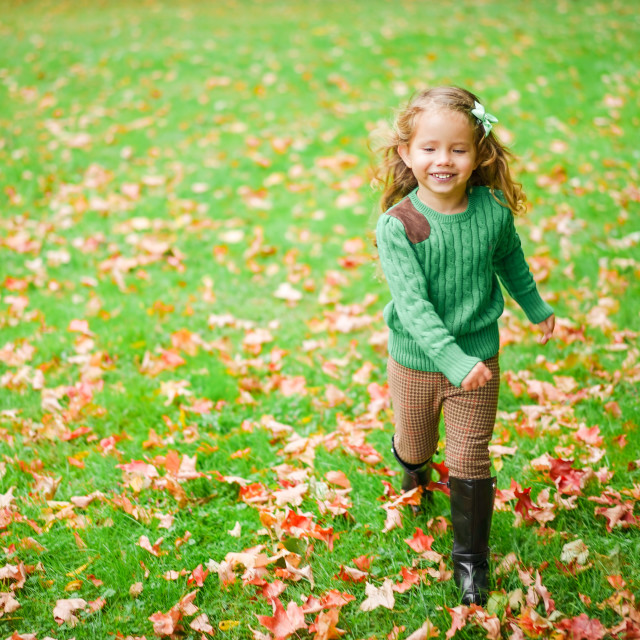 """Cute baby girl on the autumn forest"" stock image"