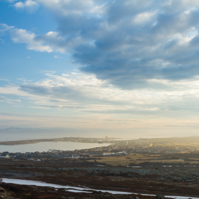 """Vadsø town, high shot"" stock image"