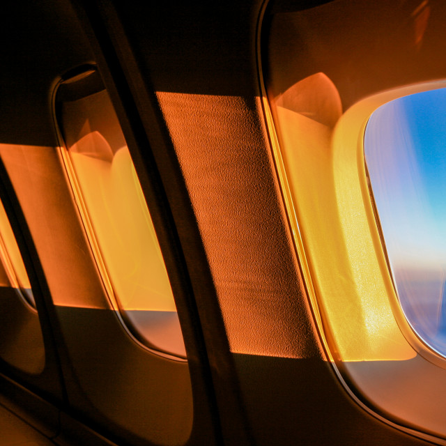 """Airplane window"" stock image"