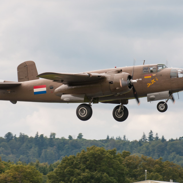 """""""B25 Mitchell Bomber on take off."""" stock image"""