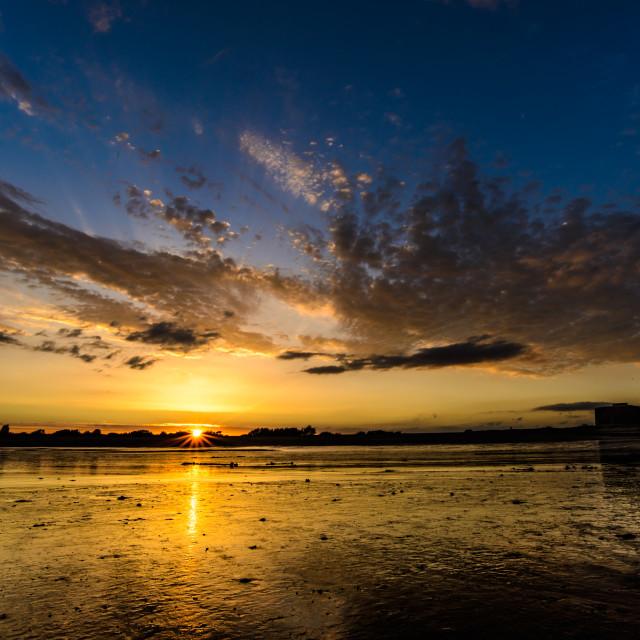 """Martello Bay 2 at Sunset"" stock image"