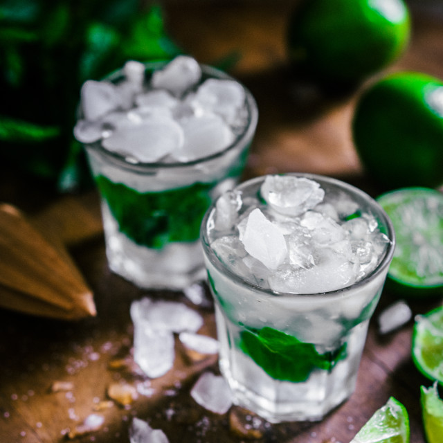"""""""Chilled mohito on wooden background"""" stock image"""