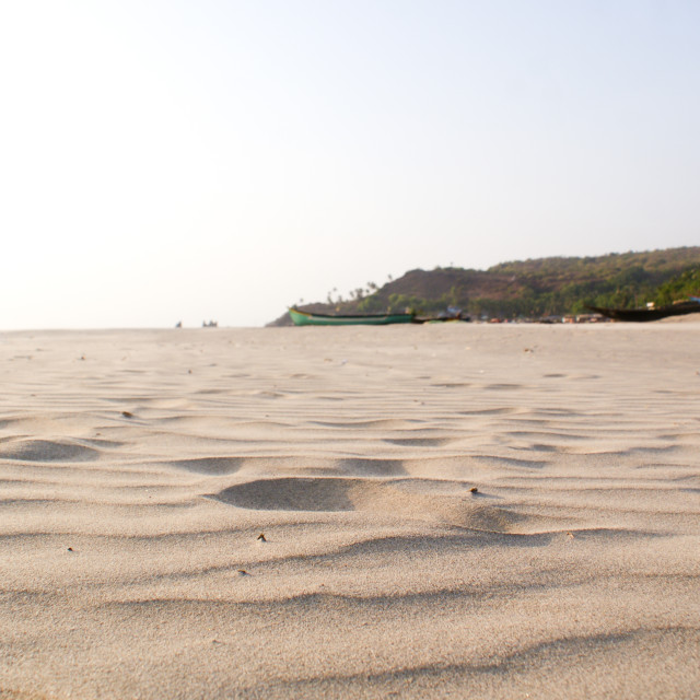 """The sands of Arambol Beach, North Goa"" stock image"