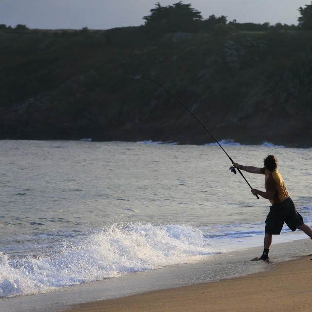 """Fisherman at dawn"" stock image"