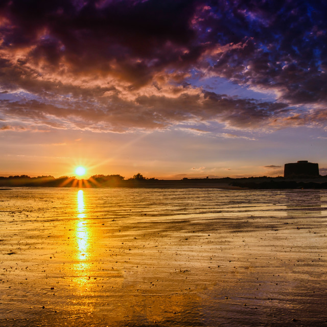 """""""Light Behind The Martello Tower"""" stock image"""