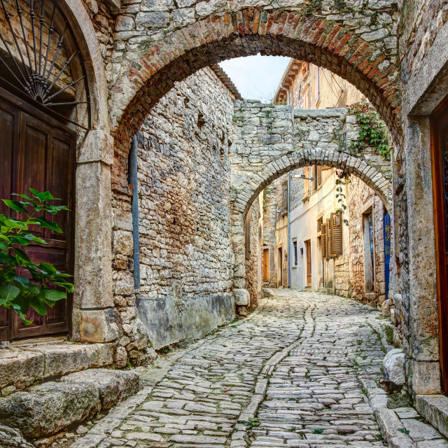 """Typical street in Bale or Valle in Croatia"" stock image"