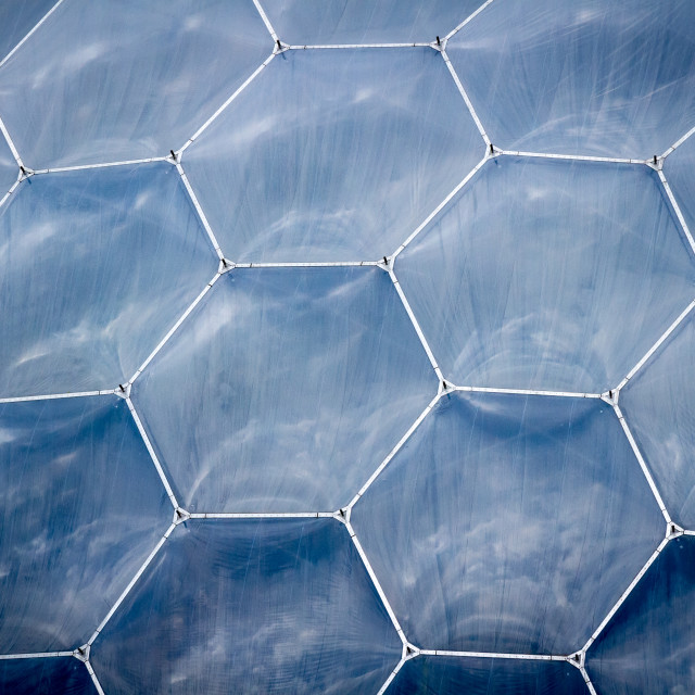 """Hexagonal windows of a Biome at Project Eden"" stock image"