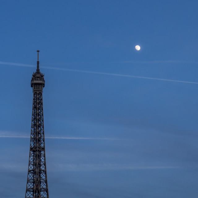 """""""Moonrise over Paris"""" stock image"""