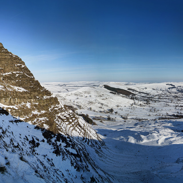 """Mam Tor East Face in Snow"" stock image"