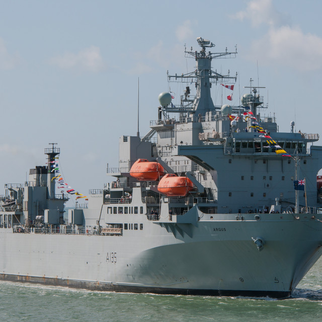 """RFA Argus arriving at Portsmouth"" stock image"