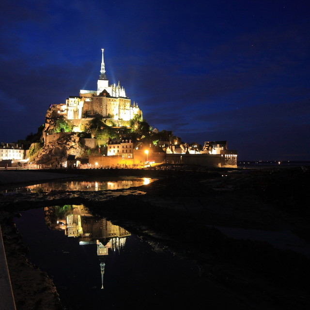 """Mont-Saint-Michel by night"" stock image"