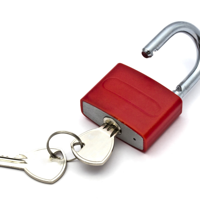 """Red padlock"" stock image"