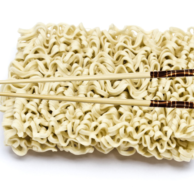 """Instant noodles and chopsticks"" stock image"