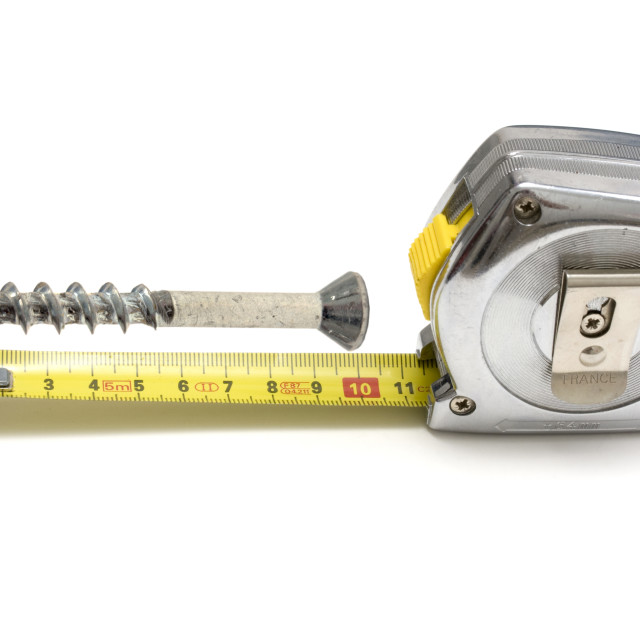 """Tape measure and screw"" stock image"