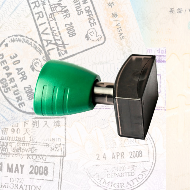 """""""Rubber stamp and immigration stamps"""" stock image"""