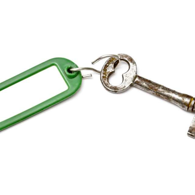 """Blank tag and old key"" stock image"