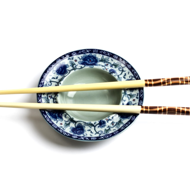 """Wood chopsticks and plate"" stock image"