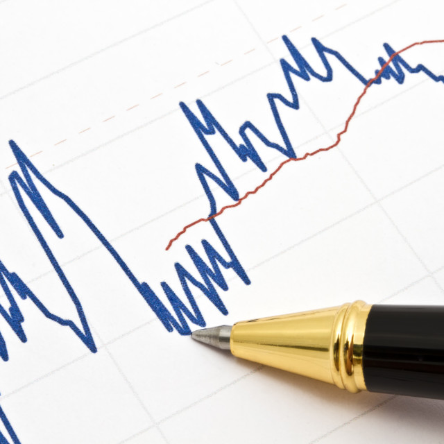 """""""Background of business graph and a pen"""" stock image"""