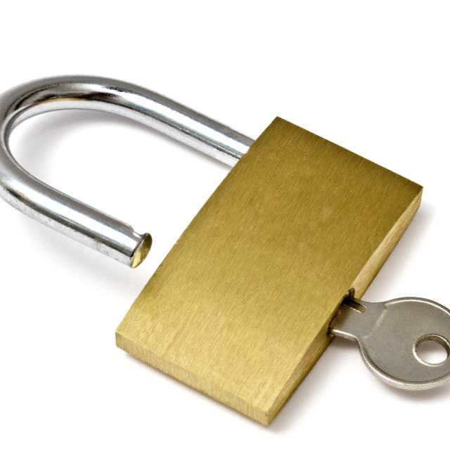 """Padlock and key"" stock image"