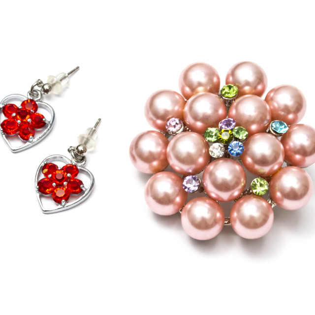 """""""Beautiful brooch and earrings"""" stock image"""