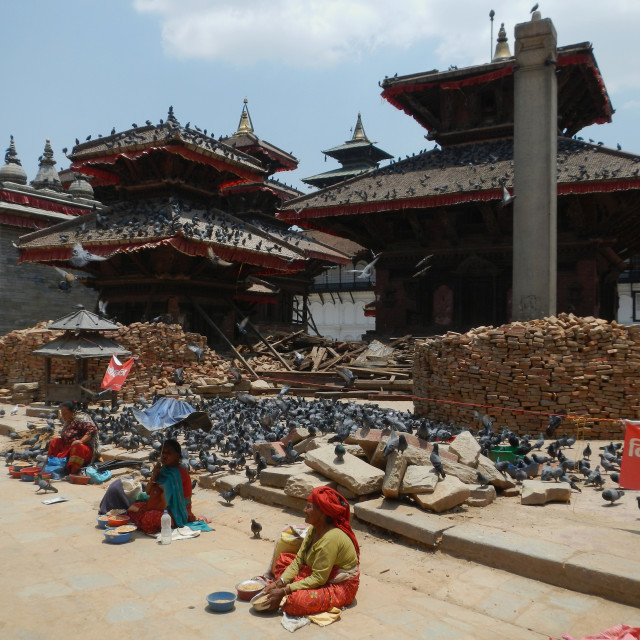 """Durbar Square and its temples after earthquake, Kathmandu, Nepal"" stock image"