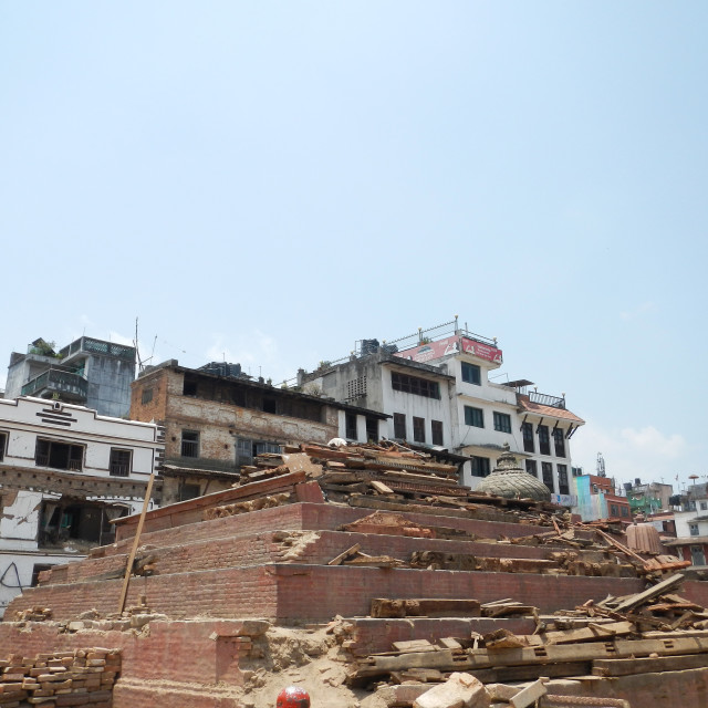"""""""Royal Palace and temples destroyed by the earthquake in Kathmandu, Nepal"""" stock image"""
