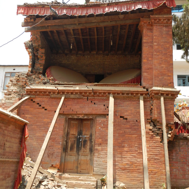 """""""Buddhist temple and gongs, destroyed by earthquake in Kathmandu"""" stock image"""