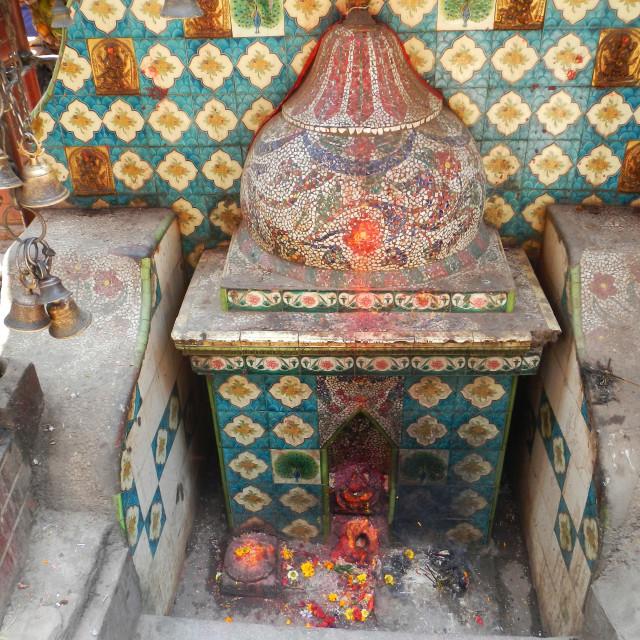"""place of hinduist worship in Asan Market, Kathmandu, Nepal"" stock image"