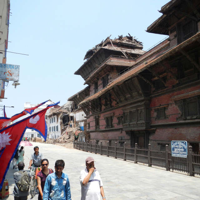 """""""Durbar Square destroyed after the earthquake, Kathmandu, Nepal"""" stock image"""