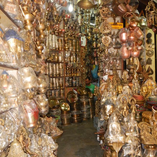 """bronze stuffs shop in Asan Market, Kathmandu, Nepal"" stock image"
