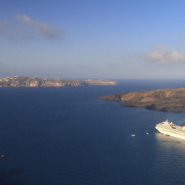 """Cruise ship at Santorini"" stock image"