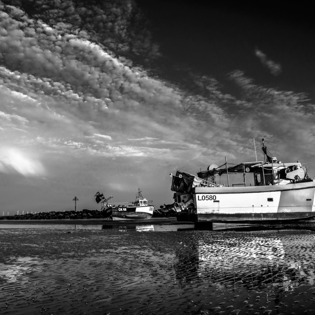 """""""Rest At Low Tide In Monotone"""" stock image"""