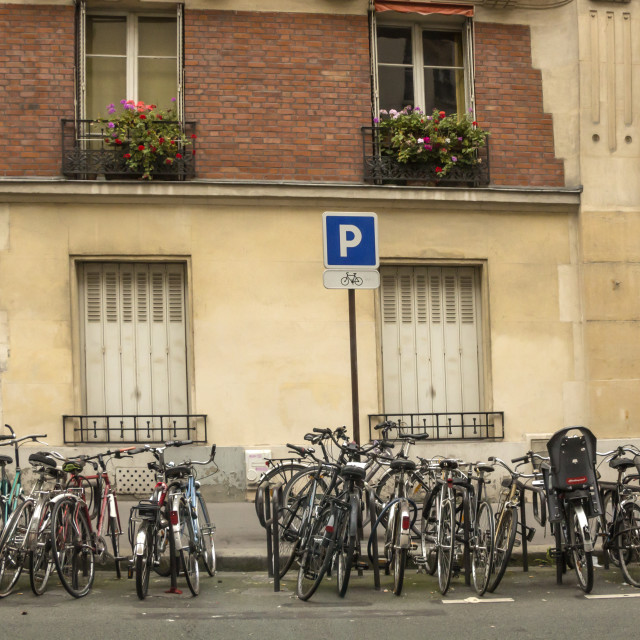 """Bicyles parking on the street"" stock image"