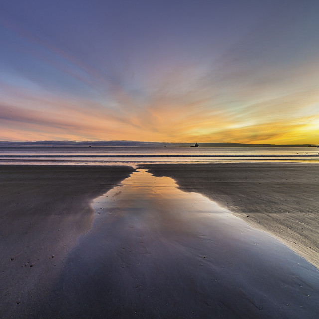 """Sunrise over Aberdeen (Scotland) beach"" stock image"