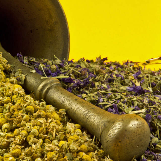 """Old mortar with camomile and lavander"" stock image"
