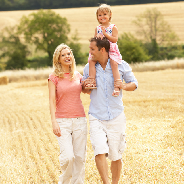 """""""Family Walking Together Through Summer Harvested Field"""" stock image"""